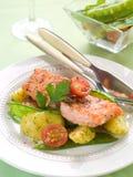 Gegrillte Lachse mit Gemüse lizenzfreies stockfoto