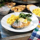 Gegrillte Lachse und Reis Lizenzfreies Stockfoto