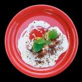 Gegrillte Pfirsiche mit Sahne, lokalisiert Lizenzfreie Stockfotos