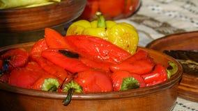 Gegrillte rote und gelbe Pfeffer Stockfoto
