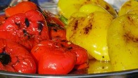 Gegrillte rote und gelbe Pfeffer Stockfotografie