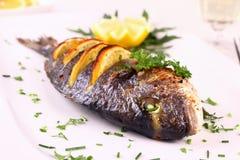 Gegrillte Seebrassenfische, Zitrone, Arugula auf weißer Platte Lizenzfreie Stockfotografie