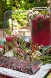 Gegrillte Steak- und Gemüseverbreitung Stockfoto