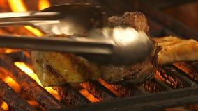 Gegrillte, zwei Hühnerleisten des Fleisches oder Truthahnfleisch mit den Grilldrucken und Kalbfleischfleisch, die medalled sind,  stock video footage