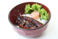 Gegrillter Aal auf Reis Stockfotografie