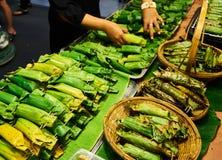 Gegrillter klebriger Reis im Markt Bangkok Thailand Lizenzfreies Stockbild