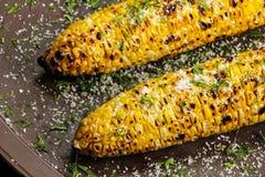 Gegrillter Zuckermais mit Buttersalz und Parmesankäse Stockbild