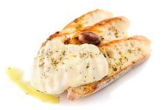 Gegrilltes Brot mit Käse Lizenzfreies Stockfoto