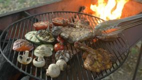 Gegrilltes Fleisch und Gemüse, Hühnerbeine, grillten Burgersteak und grillten Fleisch, Zucchini, Tomaten, gegrillte Pilze stock video footage