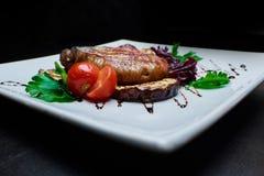 Gegrilltes Fleisch und Gemüse Stockbild