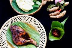 Gegrilltes Huhn in der würzigen Sojasoße und der Chili-Sauce stockfotografie