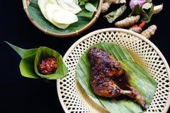Gegrilltes Huhn in der würzigen Sojasoße und der Chili-Sauce stockbild