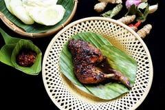 Gegrilltes Huhn in der würzigen Sojasoße und der Chili-Sauce lizenzfreie stockfotos
