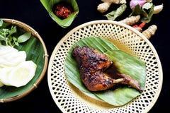 Gegrilltes Huhn in der würzigen Sojasoße und der Chili-Sauce lizenzfreie stockfotografie
