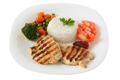 Gegrilltes Huhn mit Reis Stockfoto