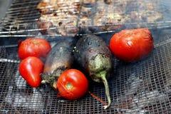 Gegrilltes Huhn mit Tomate und Aubergine Stockbilder