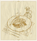 Gegrilltes Lachssteak auf einer gezeichneten Illustration der Platte Hand Lizenzfreie Stockfotografie