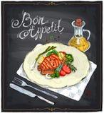 Gegrilltes Lachssteak auf einer gezeichneten Illustration der Platte Hand auf einer Tafel Lizenzfreie Stockbilder