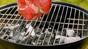 Gegrilltes neues Stück Rindfleisch mit dem Knochen auf heißen Kohlen stock footage