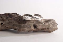 Gehämmerte Ringe auf Treibholz Stockfotografie