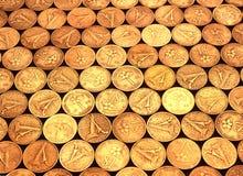 Gehäuft von den Goldmünzen Lizenzfreies Stockfoto