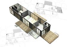Gehäusearchitekturpläne mit Gebäude 3D stockbilder