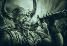 Gehörnter Dämonritter mit einer großen Klinge auf seiner Schulter stock abbildung