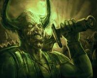 Gehörnter Dämonritter mit einer großen Klinge auf seiner Schulter vektor abbildung