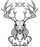 Gehörnter Gott Cernunnos Mystizismus, geheim, Heidentum, Okkultismus lizenzfreie abbildung
