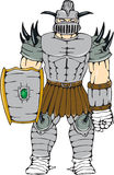 Gehörnter Ritter Full Armor Shield Cartoon Stockfotografie