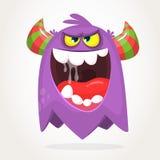 Gehörntes Monster der Karikatur mit verärgertem Ausdruck öffnete Mund voll des Speichels Vektorabbildung getrennt lizenzfreie abbildung