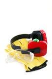 Gehörschützer mit Handschuhen und Schutzbrillen lizenzfreie stockbilder
