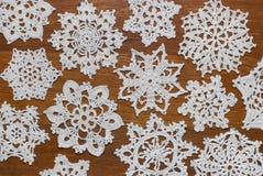 Gehaakte sneeuwvlokken Royalty-vrije Stock Foto