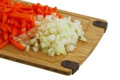Gehackte Karotte und Zwiebel Stockfotos