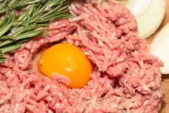 Gehacktes Fleisch mit Ei Lizenzfreie Stockfotografie