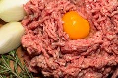 Gehacktes Fleisch mit Ei Stockbild