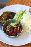 Gehacktes Schweinefleischblut in Nord-Thailand-Nahrungsmitteln Lizenzfreie Stockfotografie