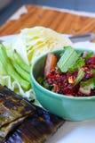 Gehacktes Schweinefleischblut in Nord-Thailand-Nahrungsmitteln Lizenzfreies Stockfoto