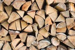 Gehakt berkbrandhout achtergrondhout Stock Fotografie