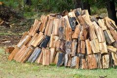 Gehakt en gestapeld brandhout Stock Fotografie