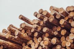 Gehakt houten, woodpile, brandhout - zaagmolen royalty-vrije stock foto