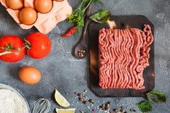 Gehakt met groenten en kruiden Stock Foto's