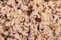 Gehakt met uien en knoflook in de pan wordt gebraden die prep Royalty-vrije Stock Foto