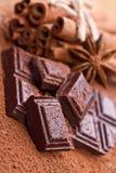 Gehakte donkere chocolade met cacao stock afbeeldingen