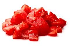 Gehakte gepelde tomaten, het knippen wegen royalty-vrije stock foto's