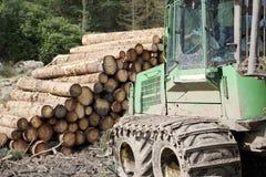 Gehakte gestapelde houten logboeken voor brandstof en tractorgraver in bos stock foto