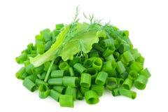 Gehakte groene uien met sla, dille Royalty-vrije Stock Afbeeldingen