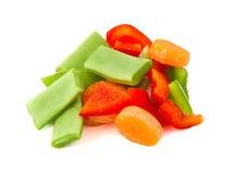 Gehakte groenten, Spaanse peper, wortel en bonen Royalty-vrije Stock Afbeelding