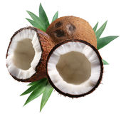 Gehakte kokosnoten met bladeren op witte achtergrond. Stock Foto