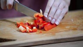 Gehakte rode Groene paprika stock video